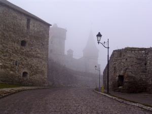 ancient streets of the ancient city in the mist