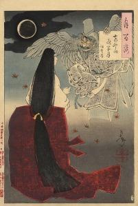 """Tsukioka Yoshitoshi, """"Mount Yoshino Midnight Moon"""" (1886)"""