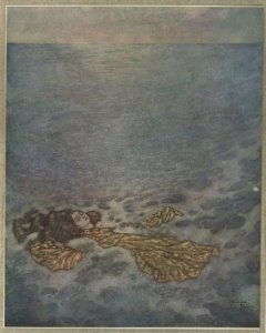 """""""Once more she looked at the prince, with her eyes already dimmed by death, then dashed overboard and fell, her body dissolving into foam."""" Illustration by Edmund Dulac for Hans Christian Andersen's """"The Little Mermaid""""."""
