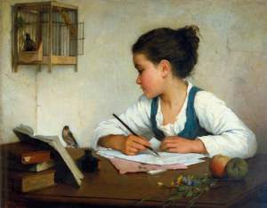 """A Girl Writing"" by Henriette Browne (1860-1880)"