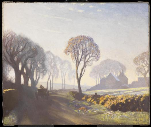 The Road, Winter Morning exhibited 1923 by Sir George Clausen 1852-1944